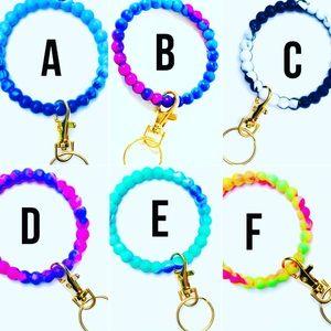 YOUR PICK! Tie Dye Bangle Bracelet Keyring